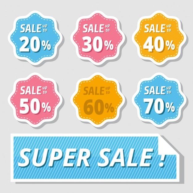 Adesivos coloridos para descontos de vendas Vetor grátis