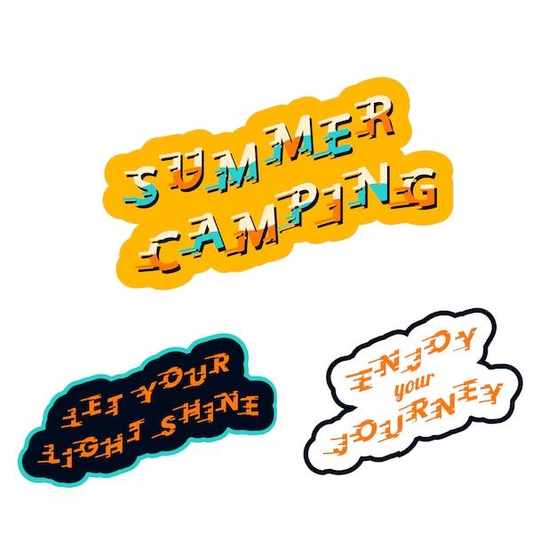Adesivos de acampamento de verão Vetor grátis