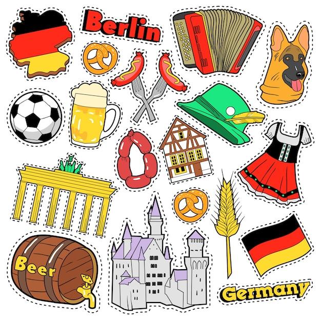 Adesivos de álbum de recortes de viagens alemanha, patches, emblemas para impressões com salsicha, bandeira, arquitetura e elementos alemães. doodle de estilo cômico Vetor Premium