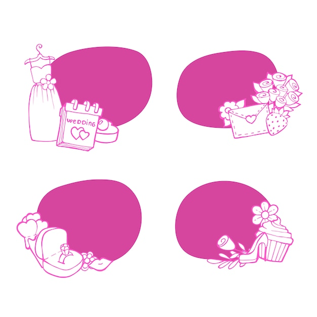 Adesivos de elementos de casamento doodle definir ilustração Vetor Premium