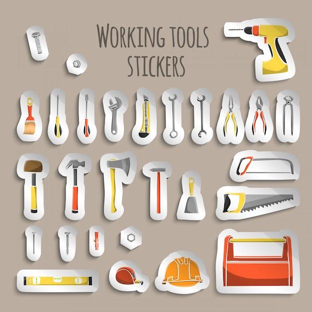 Adesivos de ferramentas de trabalho de carpinteiro Vetor grátis