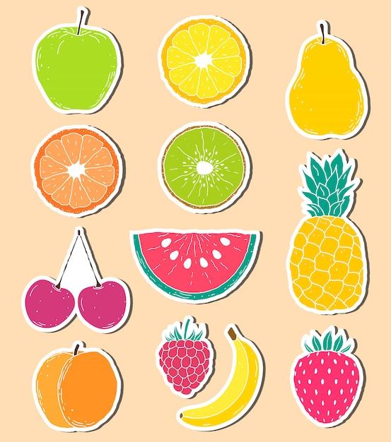 Adesivos de frutas de mão desenhada Vetor Premium