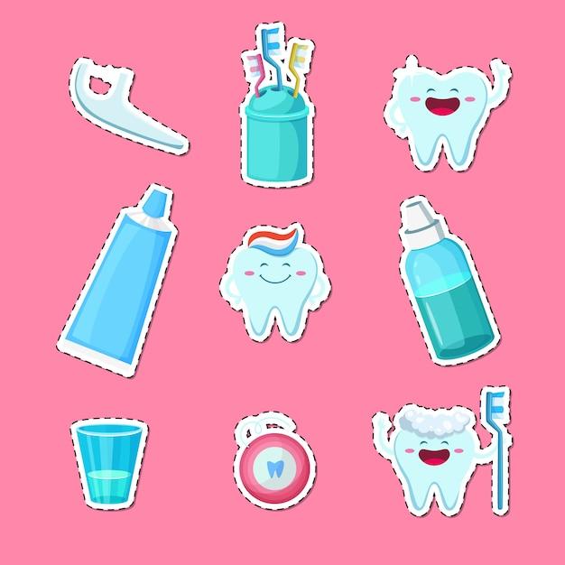Adesivos de higiene de dentes dos desenhos animados isolados Vetor Premium