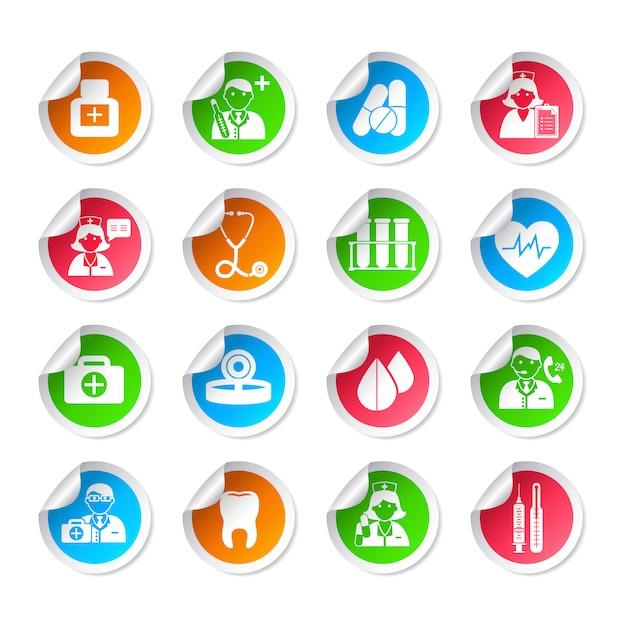 Adesivos de ícone de cuidados de saúde médicos Vetor Premium