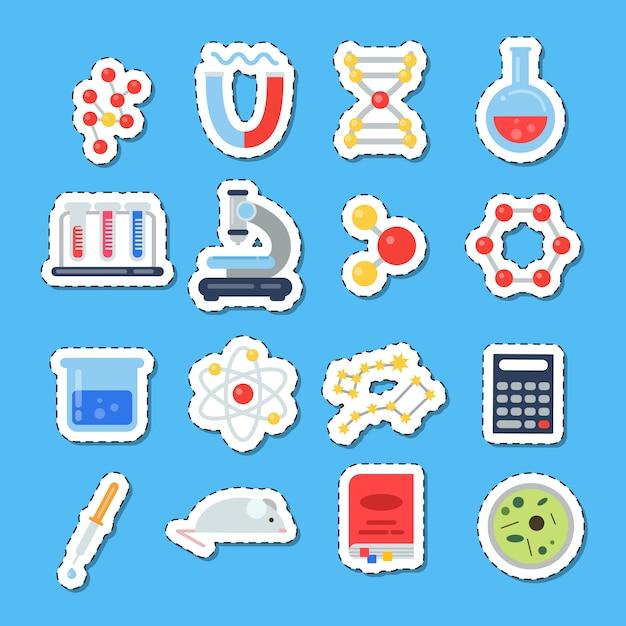 Adesivos de ícones de ciência com conjunto de sombras Vetor Premium