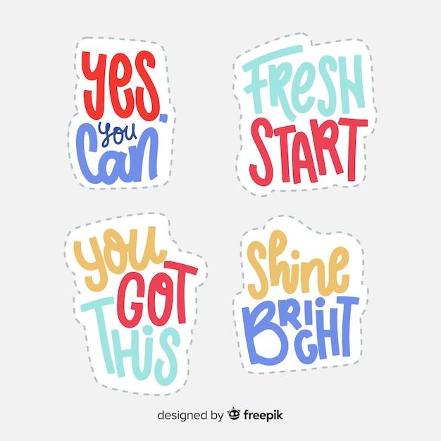 Adesivos de letras com citação motivacional Vetor grátis