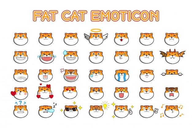 Adesivos de mídia social emoticon fofo gato gordo kawaii Vetor Premium