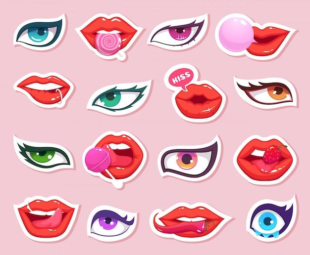 Adesivos de moda. lábios de mulher sexy com quadrinhos de doces e olhos sorrindo adesivos retrô de maquiagem de boca Vetor Premium