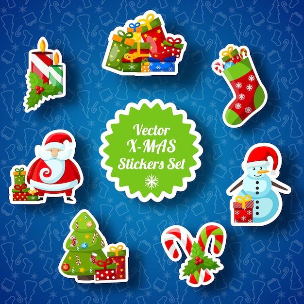 Adesivos de natal com meia de papel, papai noel, abeto, doces, boneco de neve, presentes e velas Vetor grátis