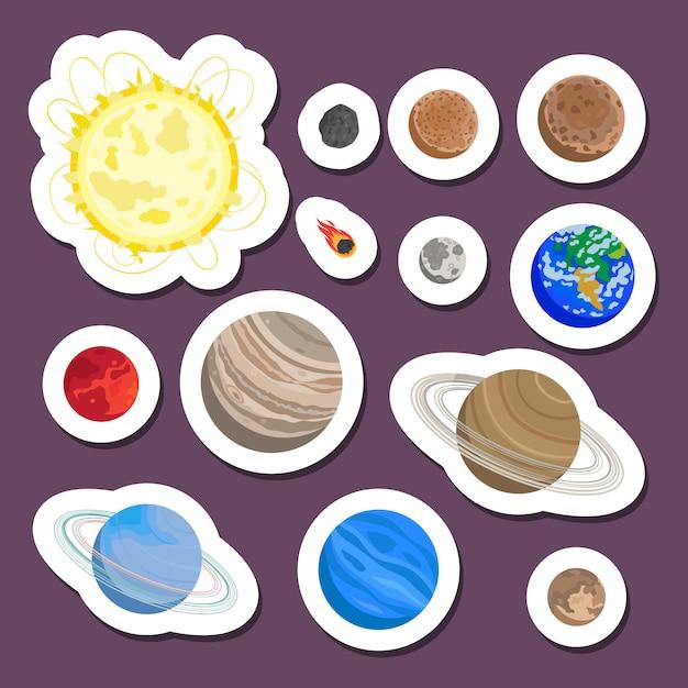 Adesivos de planeta do sistema solar Vetor Premium
