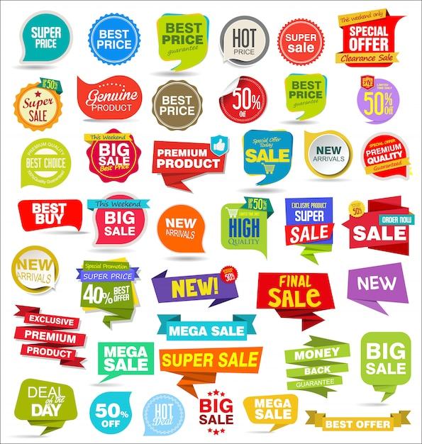 Adesivos de venda moderna etiquetas coleção banners e emblemas Vetor Premium