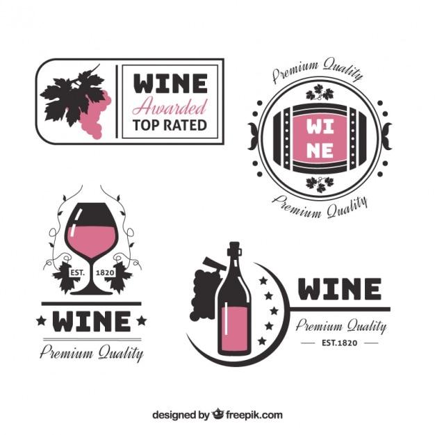Adesivos decorativos de vinho em estilo plano Vetor grátis