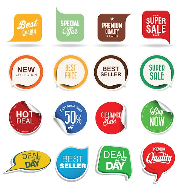 Adesivos e etiquetas de venda Vetor Premium