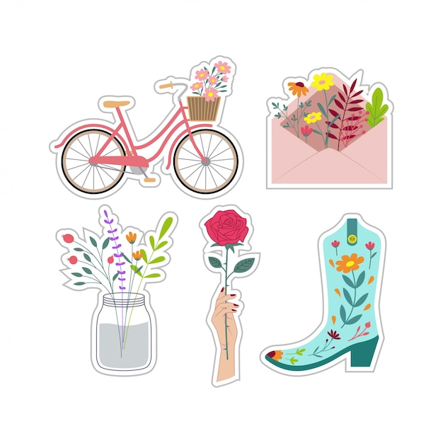 Adesivos florais de remendo bonito conjunto vector design Vetor Premium