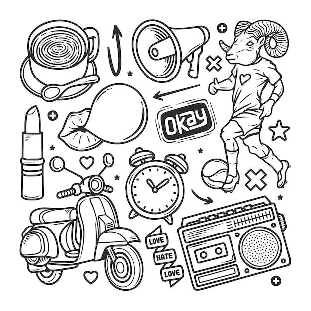Adesivos mão desenhada doodle Vetor grátis