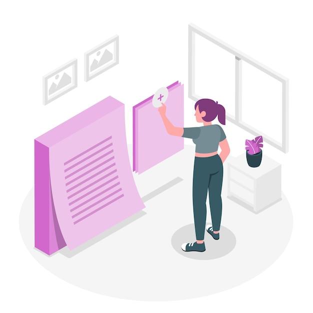 Adicionar notas de ilustração de conceito Vetor grátis