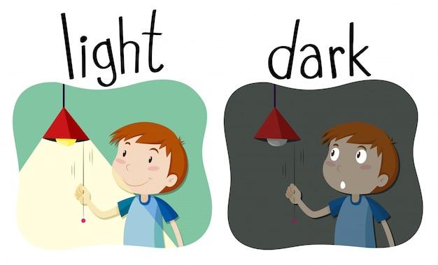 Adjetivos opostos luz e escuridão Vetor grátis