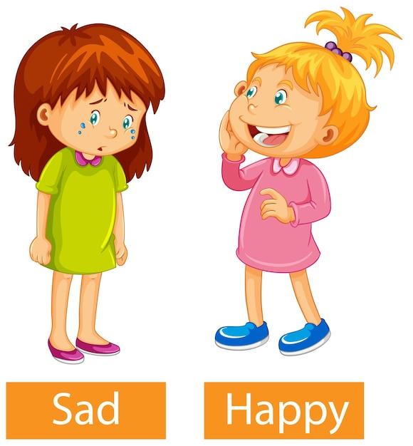 Adjetivos opostos palavras com feliz e triste Vetor grátis