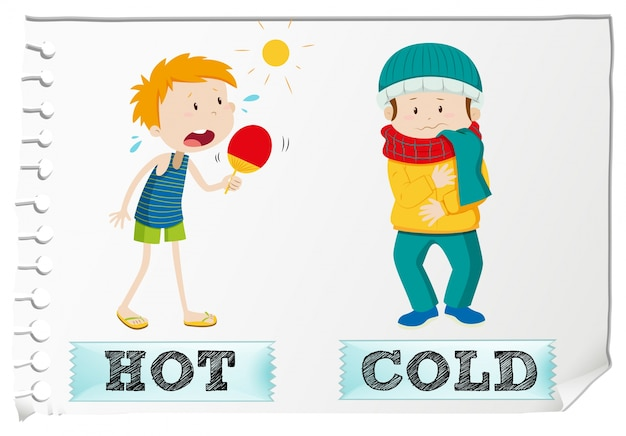 Adjetivos opostos quentes e frios Vetor grátis