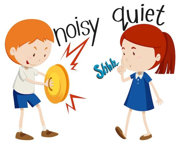 Adjetivos opostos ruidosos e silenciosos Vetor grátis