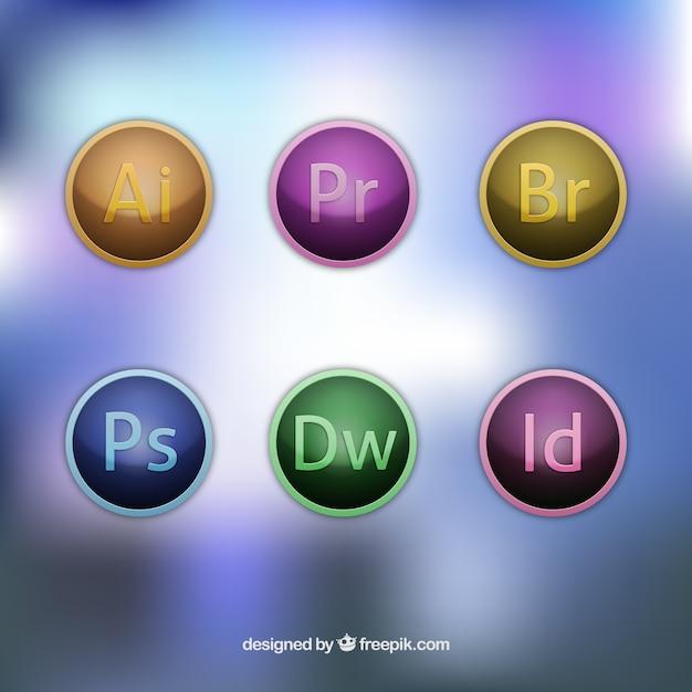 Adobe softwares ícones Vetor Premium