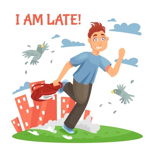 Adolescente atrasado correndo para a escola Vetor grátis