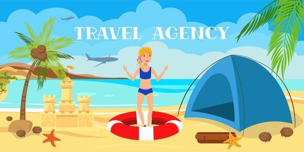Adolescente com desenhos animados do castelo da barraca e da areia. Vetor Premium