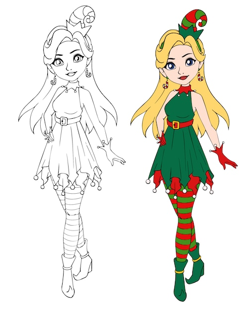 Adolescente De Desenhos Animados Usando Fantasia De Duende De