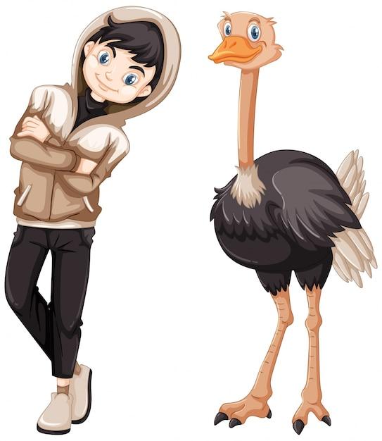 Adolescente e avestruz selvagem Vetor grátis