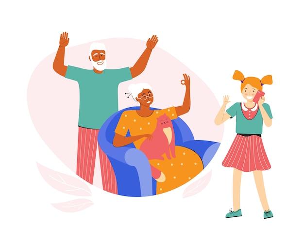 Adolescente está falando ao telefone com os avós. os idosos se comunicam com a neta. um casal de idosos passa o tempo em casa. conversa telefônica. comunicação à distância social Vetor Premium