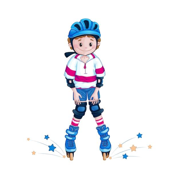 Adolescente menino em um joelho de capacete aprende a andar de patins Vetor Premium