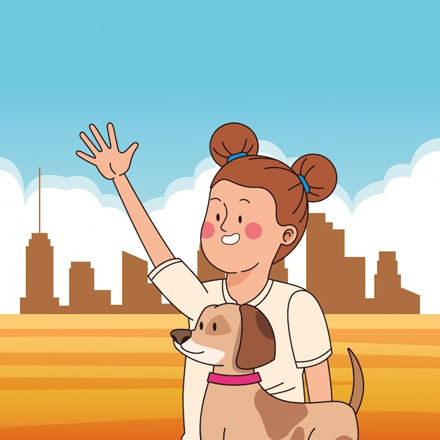 Adolescente, sorrindo, e, andando cachorro, caricatura Vetor Premium