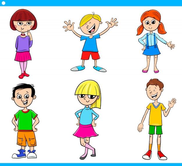 Adolescentes dos desenhos animados e conjunto de caracteres de crianças Vetor Premium