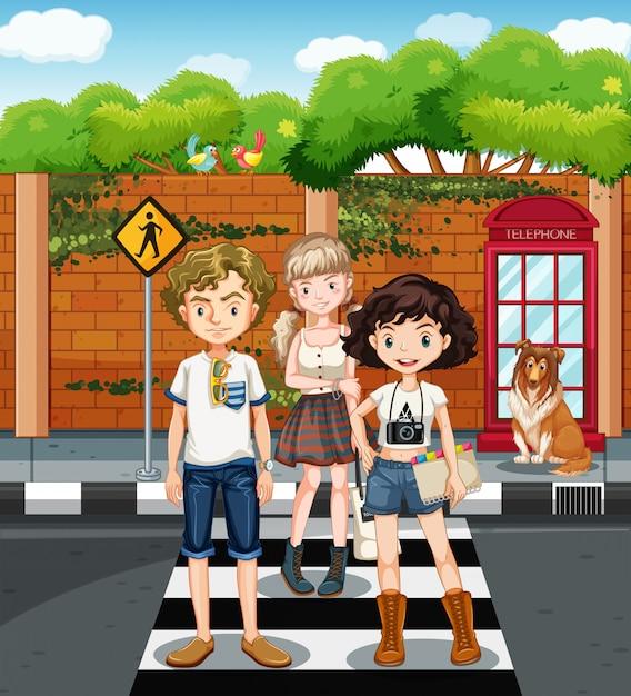 Adolescentes, ficar, zebra, cruzamento Vetor grátis