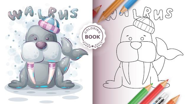 Adorable walrus - livro de colorir para crianças Vetor grátis