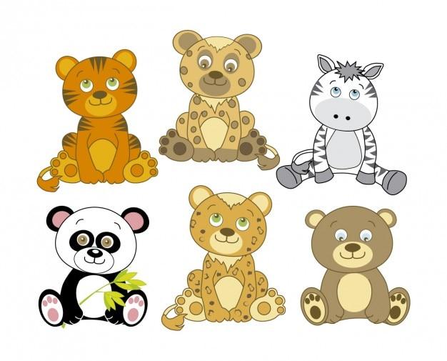 Zoológico De Animais Bebê Dos Desenhos Animados Vetor: Adoráveis Animais Desenhos Animados