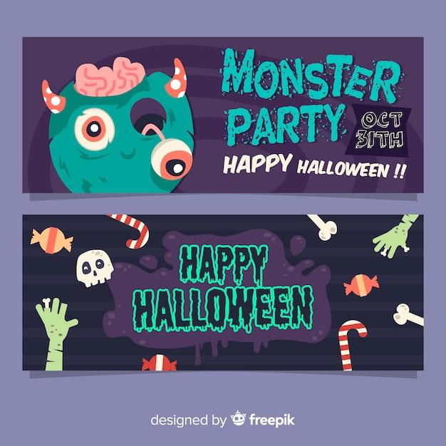 Adoráveis banners de halloween com design plano Vetor grátis