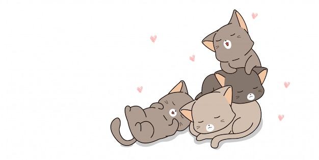 Adoráveis gatos dormindo Vetor Premium