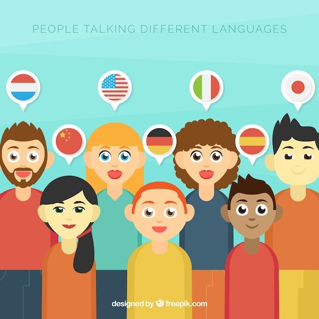 Adoráveis personagens planos falando idiomas diferentes Vetor grátis