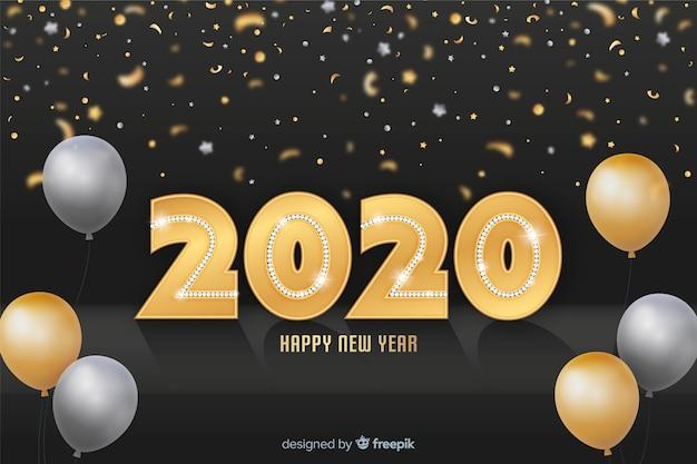 Adorável 2020 brilhos dourados backround Vetor grátis
