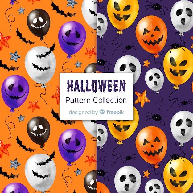 Adorável aguarela coleção padrão de halloween Vetor grátis