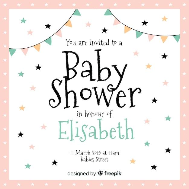 Adorável bebê chuveiro composição com design plano Vetor grátis