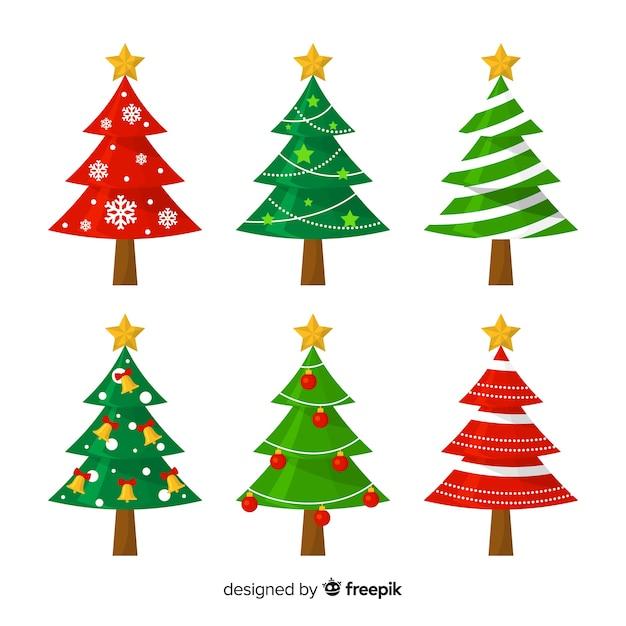 Adorável coleção de árvore de natal com design plano Vetor grátis