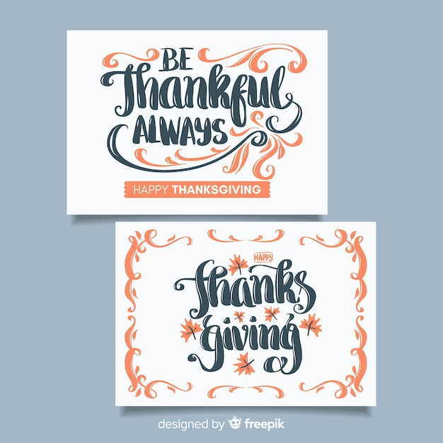 Adorável coleção de cartões de agradecimento com design plano Vetor grátis