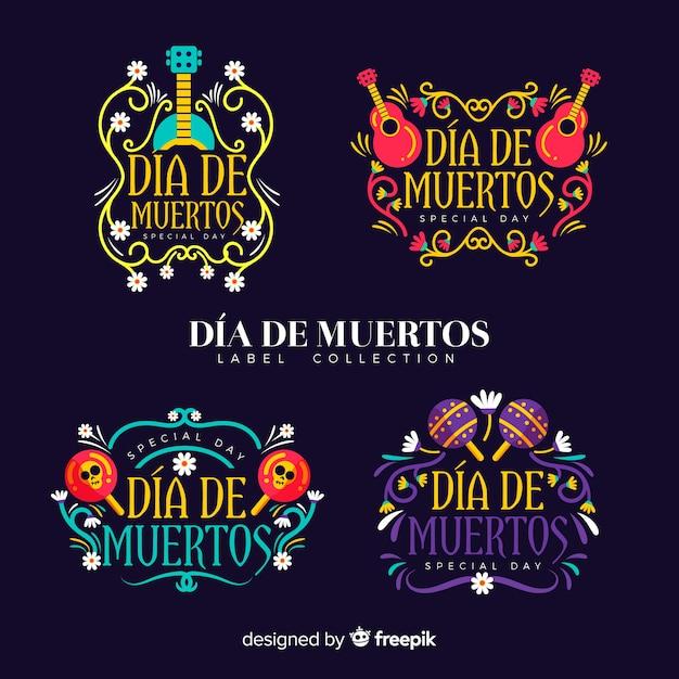 Adorável coleção de distintivo mexicano festividade com design plano Vetor grátis