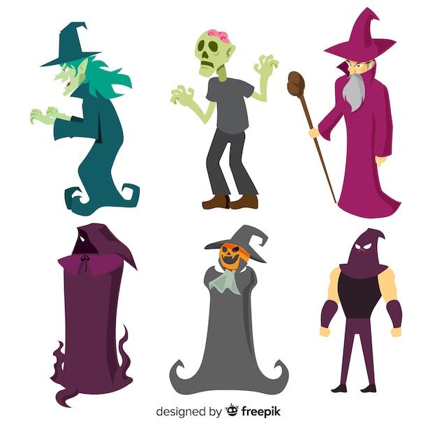 Adorável coleção de personagens de halloween com design plano Vetor grátis