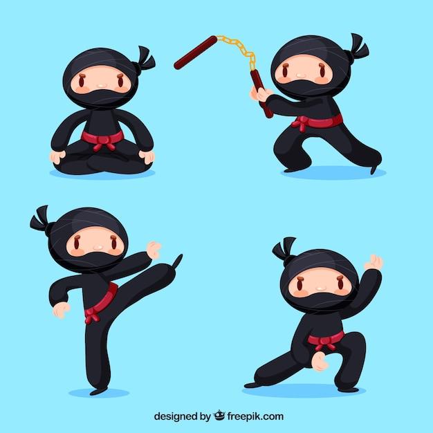 Adorável coleção de personagens ninja com design plano Vetor grátis
