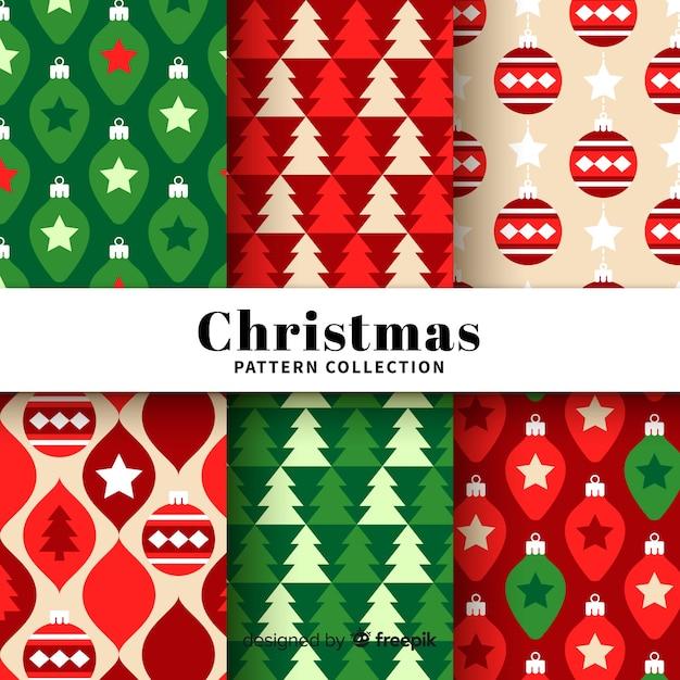 Adorável coleção padrão de natal com design plano Vetor grátis