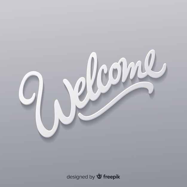 Adorável composição de boas-vindas com estilo origami Vetor grátis