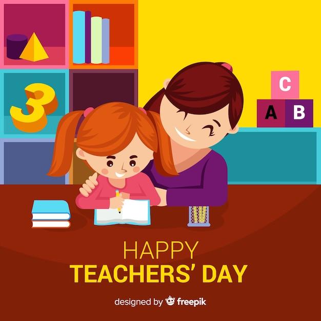 Adorável composição do dia dos professores com design plano Vetor grátis